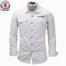 Fredd Marshall men long sleeve shirts 2017 fashion casual cotton shirt plus size 3XL button work white shirt camisa masculina