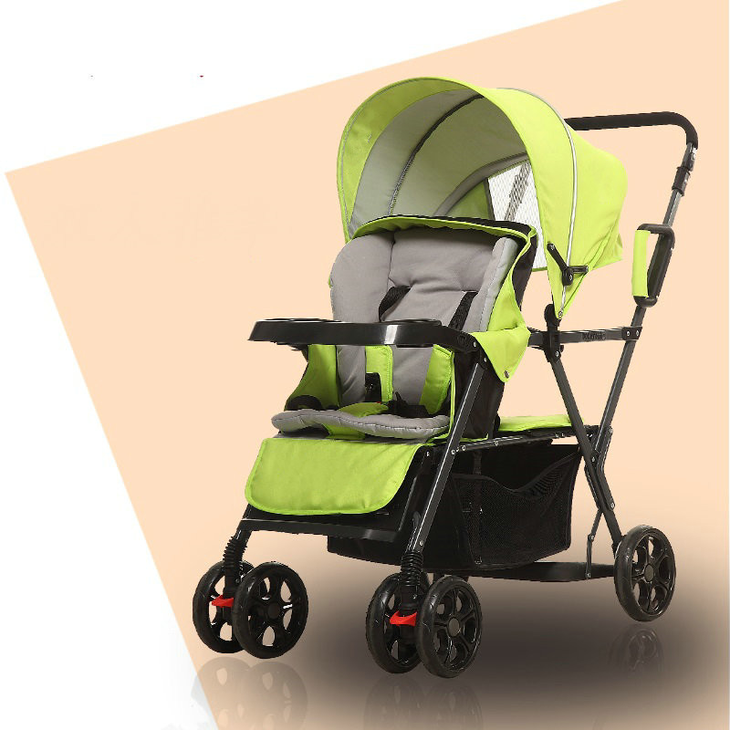 Lightweight Double Pushchair with Rain Cover, Twins Stroller can sit can lie, Reclining Collapsible Double Trolley, Baby Cart twins baby stroller carriage cart light folding front and back seats can lie 180 degree double baby stroller for twins pushchair
