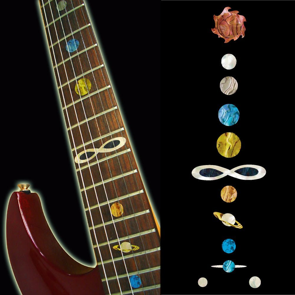 Fretboard Markers Inlay Sticker Decals for Guitar & Bass - Planet yuker electric acoustic guitar bass inlay trapezoid sticker fretboard frets markers sticker decal decor guitar sticker