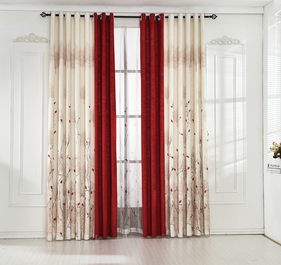 Byetee} Beige Red Stitching Faux Cotton Linen Curtain Window ...