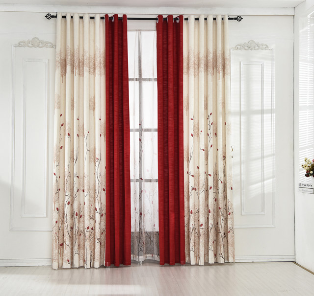 Beige Red Stitching Faux Cotton Linen Curtain Window Curtains For Living Room Luxury Pastoral Kitchen Roman
