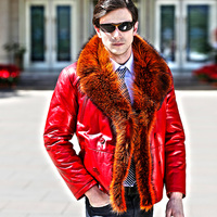 Luxury 2017 new winter fashion men's sheepskin wool lined genuine cow leather coat and jacket large fur collar plus size 3xl 4xl