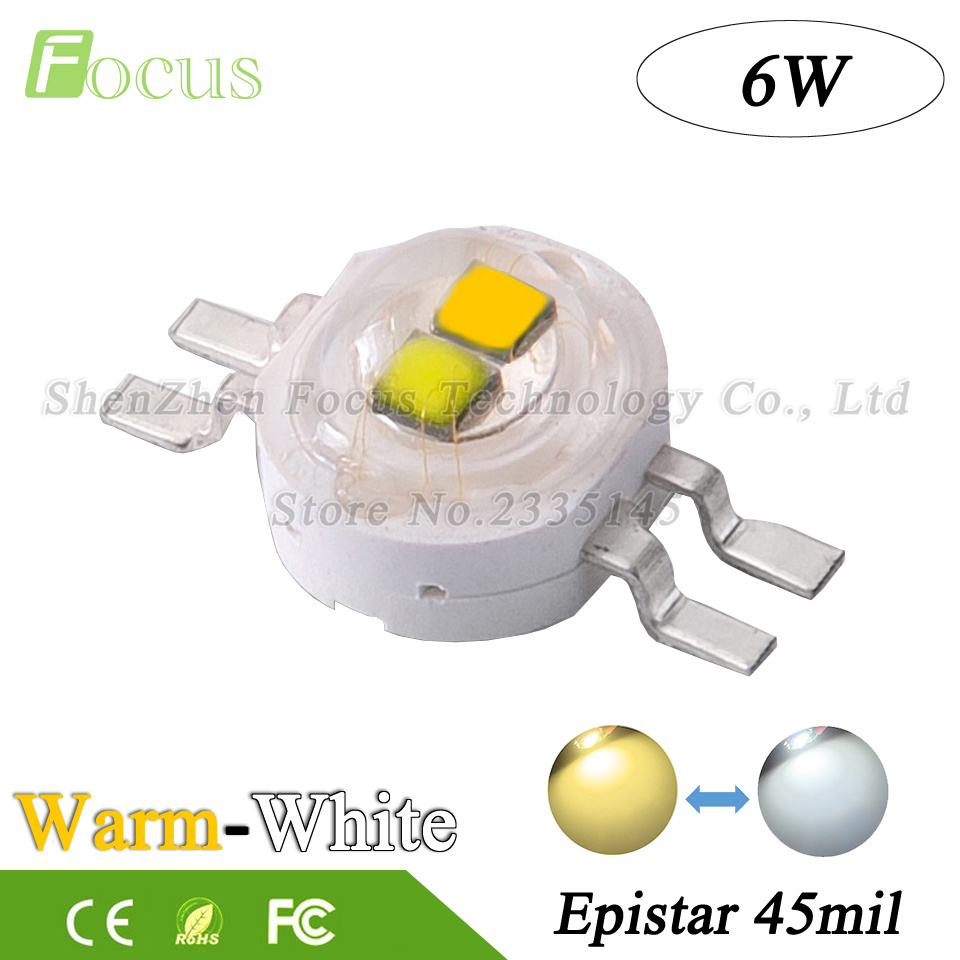 20Pcs High Power LED Double Chip 6W COB White + Warm White 45mil Light Beads 6 Watt Use For DIY Photographic Fill Light