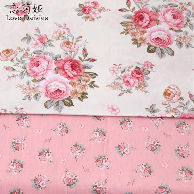 100% cotton elegant pink flowers floral twill cloth DIY for kids bedding cushions clothes dress handwork quilting fabric decor