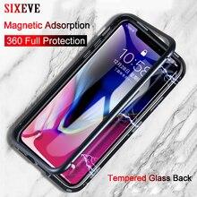 Прозрачное закаленное стекло Магнитная Адсорбция чехол для iPhone X 8 7 6 s 6s Plus XS MAX XR 8 Plus роскошный встроенный металлический флип-чехол 360