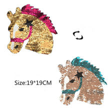 NEW horse Reversible Patch Sequins Sew On Patch for clothes DIY Crafts T Shirt Coat Sweater Embroidered Paillette Patch Applique(China)