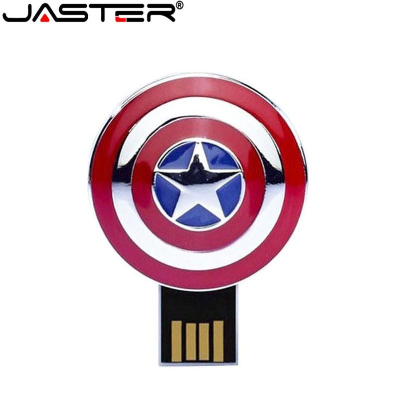 JASTER Pendrive 32GB 16GB 8GB 4GB Flash Memory Stick Drives The Avengers Metal Captain American Hulk USB Flash Drive Iron Man