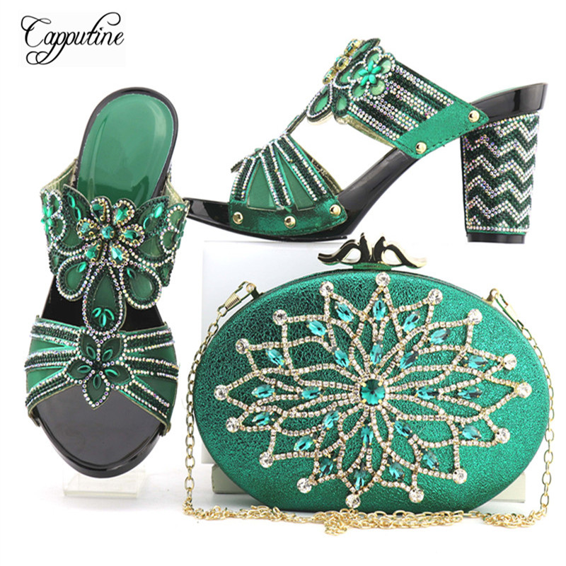 Фото Capputine Latest Design Italian Green Color Shoes And Bag Set New African Rhinestone Shoes And Bag Set For Party Free Shipping