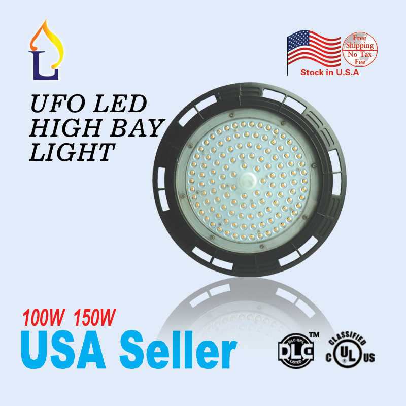 4pcs/lot 100W 150W UL DLC listed LED UFO High Bay Light Industrial Lamp for outdoor stadium and super mall IP65 5year warranty quick install 75w warehouse pendant led lighting with dlc listed