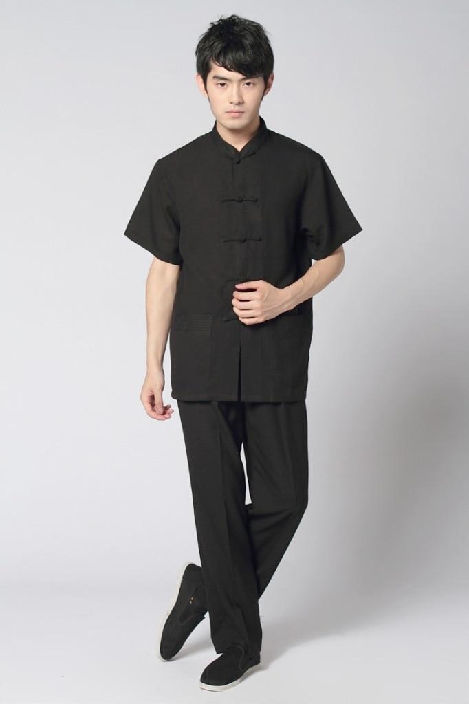 Vintage Black Chinese Mens Cotton Linen Kung Fu Suit Short Sleeve Wu Shu Sets Shirt&Pant Uniform S M L XL XXL XXXL MS003