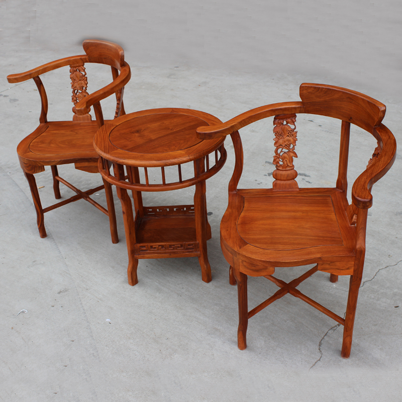 Wood Combo Chair: Three Piece Mahogany Armchair African Rosewood Lounge
