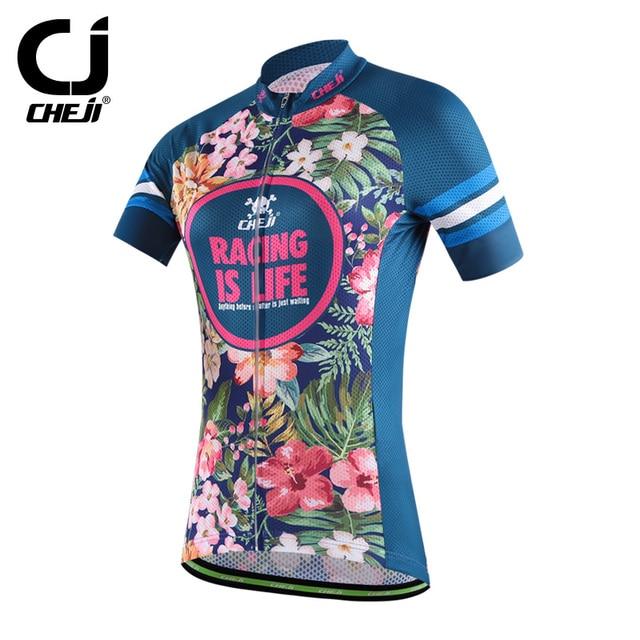 CHEJI Women s Cycling Jerseys Mountain Bike Jersey Cycling MTB Shirts  Flowers Ladies  Bicycle Jacket Short Sleeve Summer 6472302dc