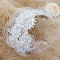 2016 Flor Véu Fascinator Chapéus De Casamento Encantador Headband do Cabelo Acessórios de Cabelo Acessorios Chapeu Feminino Parágrafo Festa