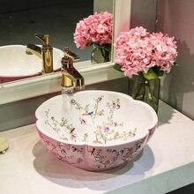Cuarto de baño guardarropa estilo antiguo, Europeo arte lavabo encimera de cerámica lavabo baño vintage lavabo de porcelana rosa