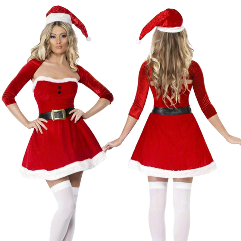 New Female Adult Red Christmas Carnival Party Christmas Night Costume Stage Party Princess Dress Little Red Riding Hood Costume