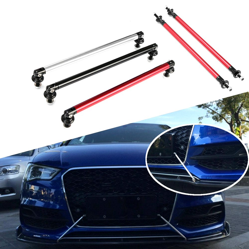 "9/"" SILVER Adjustable Front Bumper Lip Splitter Brace Rod Support Bar Universal"