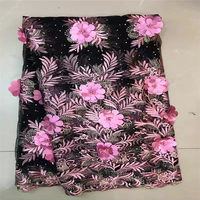 High Quality Tulle Rhinestone Beaded African Lace Fabric Pearls Guipure Embroidered French Nigerian Lace Fabrics Applique
