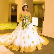 Черные свадебные платья в африканском стиле с золотым кружевом