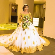 African Black Girls Gold Lace Wedding Gowns 2019 Long Sleeves Beaded Appliques Skin Tulle Long Sleeves Princess Bridal Gowns black lace details long sleeves knitwear