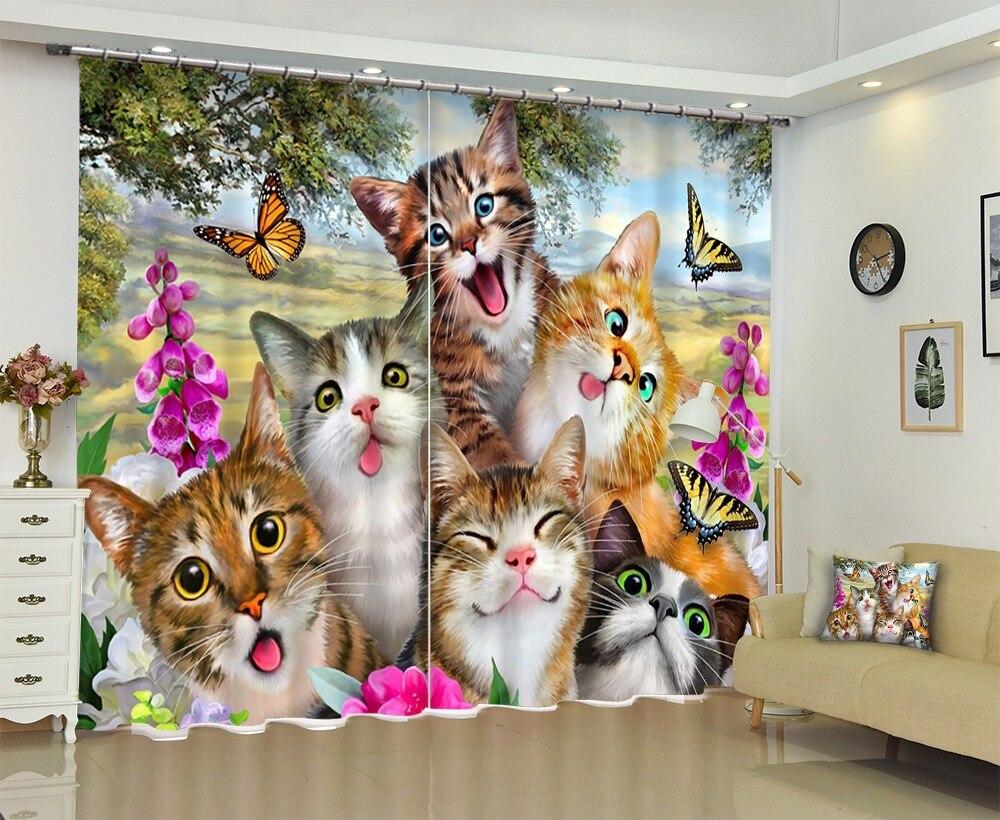 Photo de 6 chats mignons 3D rideau de fenêtre pour enfants literie chambre salon rideaux rideaux rideaux pare-soleil fenêtre rideau