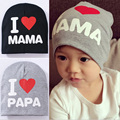 Spring Autumn Winter Baby Beanie Hat New Born baby Photography Props Children Boys Girls Knitted I Love Papa Mama Baby Caps