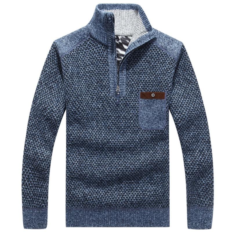 Brand Mens Fleece Sweater Winter Fashion Stand Collar Zipper Thicken Loose Pollovers Men Sweater Coat Outwear AF8805