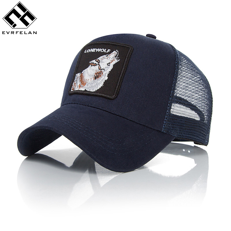 Evrfelan Embroidery Animal Baseball Caps Men Breathable Mesh Snapback Caps Unisex