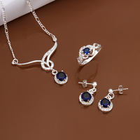 Hot Sale Trendy 925 Sterling Sliver Blue Stone Two Drop Pendant Ring Earrings Necklace Send Girl