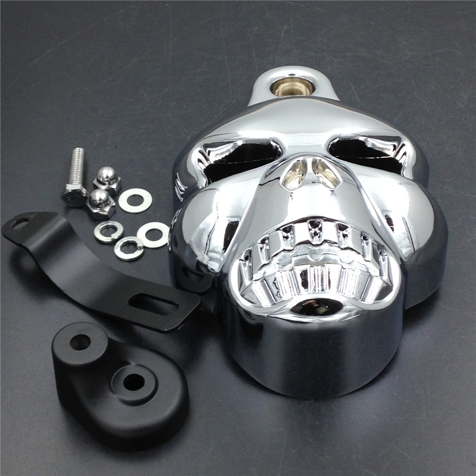 Aftermarket free shipping motorcycle parts Skull Horn Cover For Harley Davidson Big Twins V-Rods Stock Cowbell 1992-2013 Chrome scooter parts 8pcs chrome speedometer gauges bezels and horn cover case for harley davidson touring free shipping