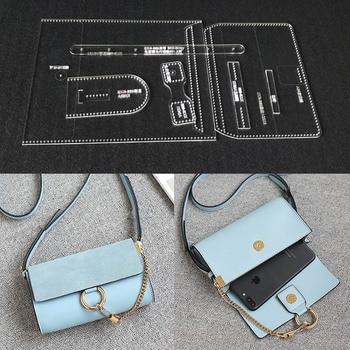 0f1225ec Corte láser acrílico plantilla patrón DIY hecho a mano hombro bolsa de cuero  de patrón de costura plantillas 18x11x5 cm