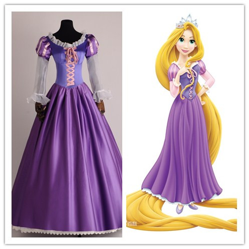 A hercegnő Rapunzel divatos ruha felnőttkori jelmezek a Halloween / karneváli fél tangled Cosplay jelmezekhez a nőknek egyedi méretben