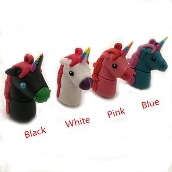 цена на Pendrive usb2.0 unicorn usb flash drive 64gb 32gb 16gb 8gb 4gb memory stick colorful horse u disk pen drive cartoon gift cle