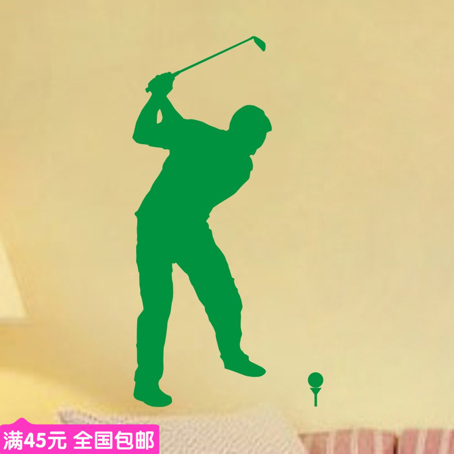 Free Shipping Sports Golf wall stickers glass decals for pub bar shop home decor decoration 22 colors choose custom-made