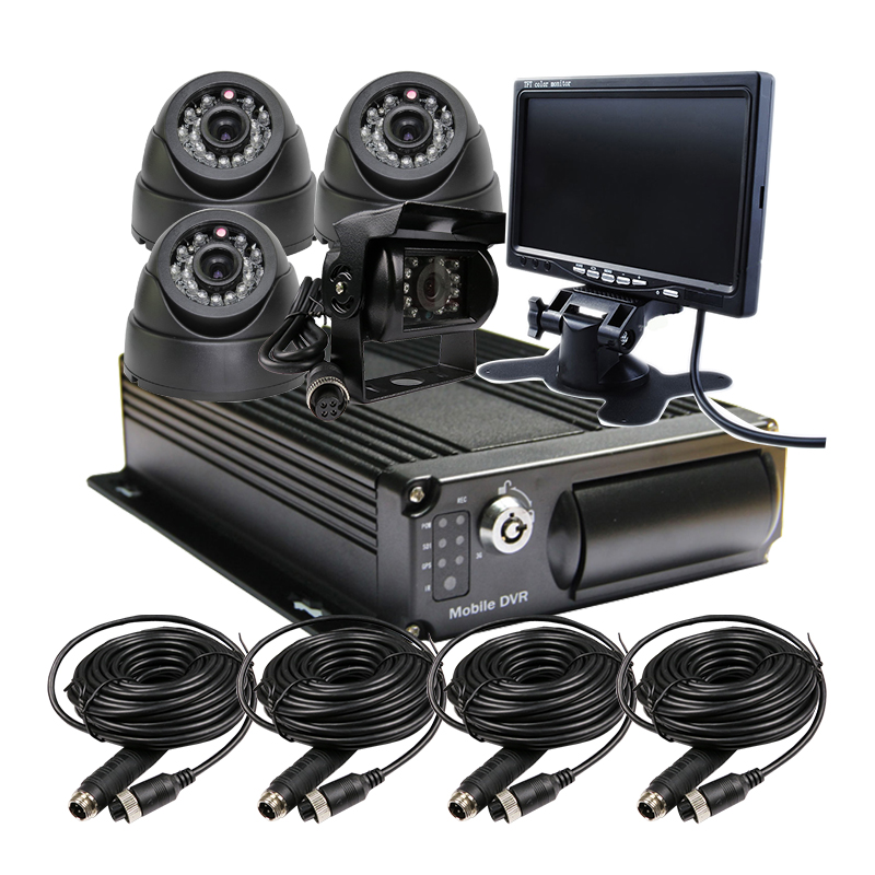 Free Shipping 4CH 256G SD Car Vehicle DVR MDVR Video Recorder Kit CCTV Rear View Car