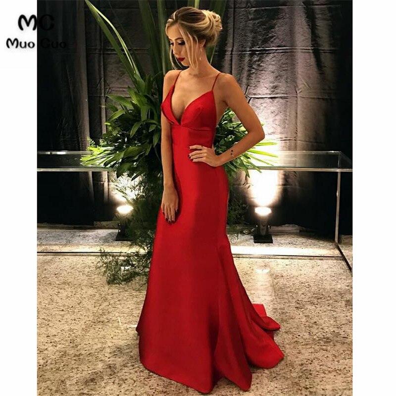 Sexy 2018 Mermaid Evening Dresses Long Deep V-Neck Spaghetti Straps Zipper Women's Formal Evening Party Dress Custom Made