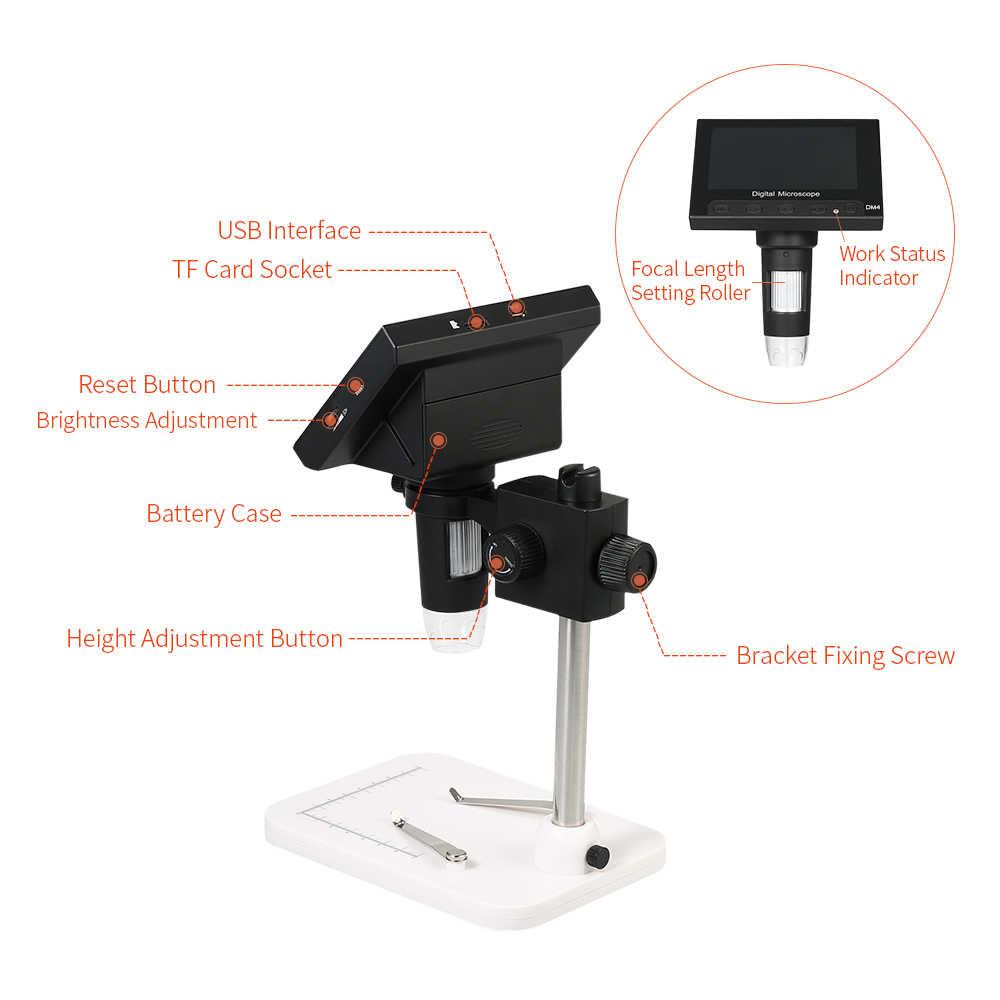 """1000x5,0 Мп USB электронный Цифровые микроскопы DM4 4,3 """"ЖК-дисплей Дисплей микроскоп vga с 8 светодиодная подставка для материнская плата (PCB), ремонт"""