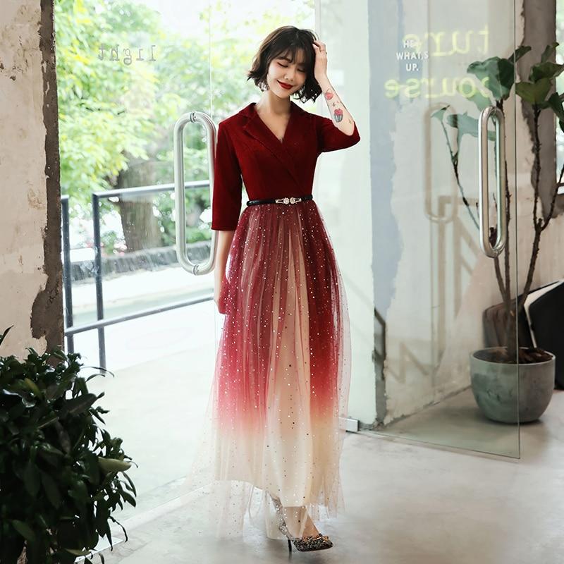 wei yin 2019 Wine Red Velour Half Sleeves A-Line   Evening     Dresses   V-neck Elegant Arabic Muslim Long Prom Formal   Dresses   LF1739