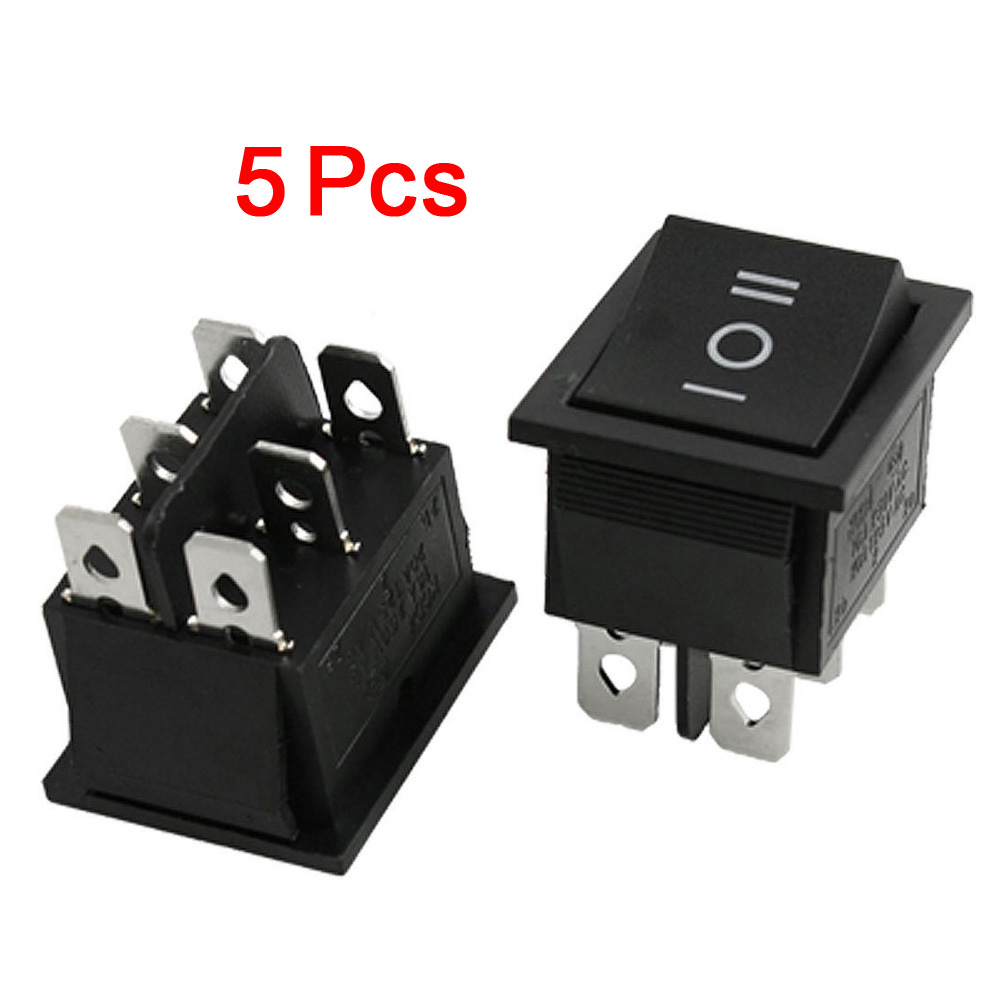 Promotion! 5 Pcs X 6 Pin Dpot On-Off-On 3 Position Boat Rocker Switch 15A/250V 20A/125V AC 5 pieces lot ac 6a 250v 10a 125v 5x 6pin dpdt on off on position snap boat rocker switches