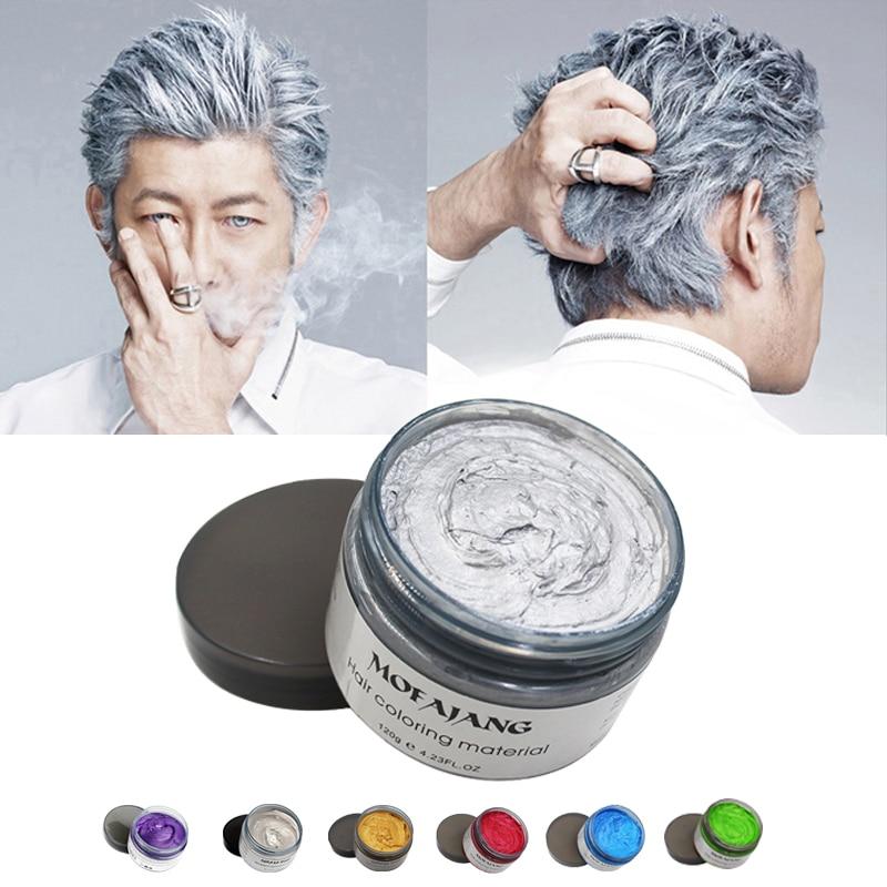 Mofajang Couleur Cire Coiffante cheveux Pommade Argent Grand-Mère Gris Jetable Naturel Cheveux Forte Gel Crème Cheveux Colorant pour Femmes Hommes 120g