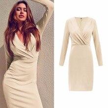 Spring Sexy V-neck Dress Party Bodycon Women Elegant Knee-Length Skinny Dresses Club Wear Vestido Plus Size