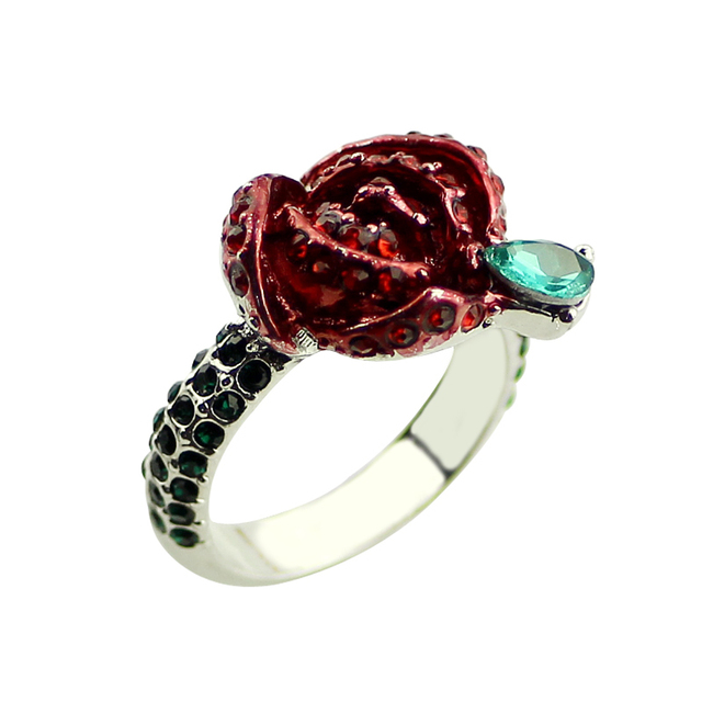 Beauty and the Beast Rings Rose Full OF Crystal Wedding Ring Jewelry