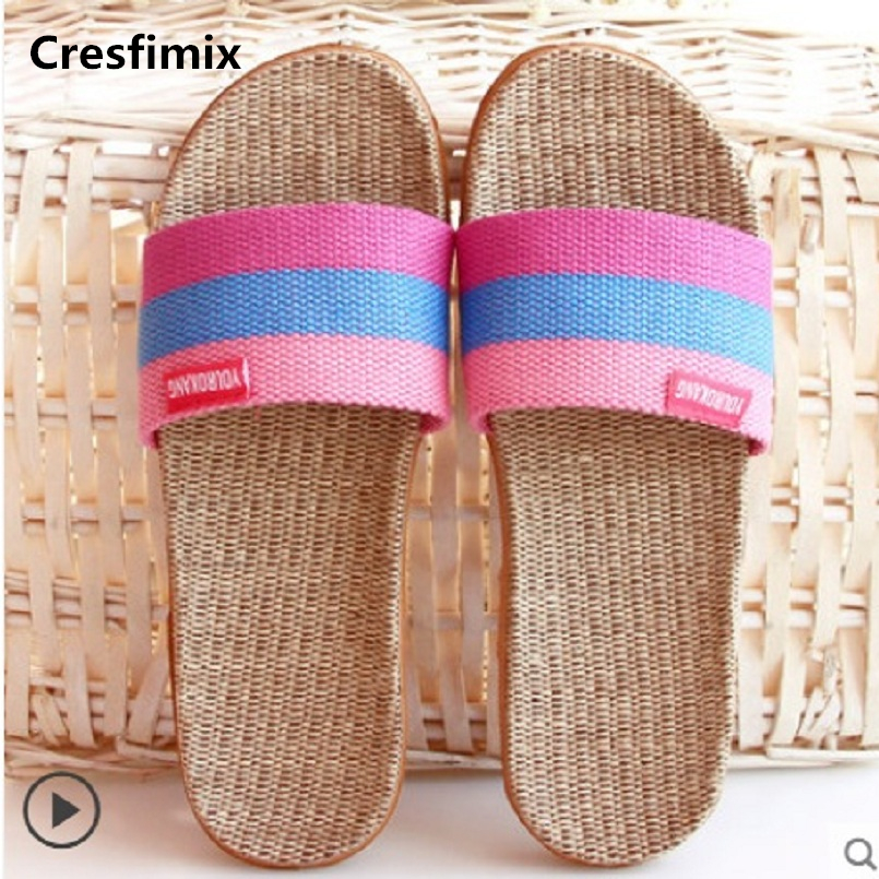Cresfimix women fashion & cute spring & summer slip on slippers lady casual street slides female cool hemp home slippers a795Cresfimix women fashion & cute spring & summer slip on slippers lady casual street slides female cool hemp home slippers a795