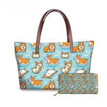 NOISYDESIGNS Top-Handle Bags Women Kawaii Corgi Printing Handbags Ladies Fashion Handbag&Wallet for Females Luxury Shoulder