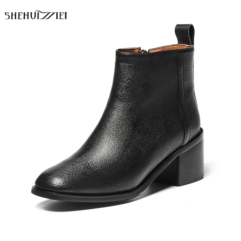 SHEHUIMEI Genuine Leather Chelsea Boots Women Square Toe Zipper Ankle Length Cow Leather Shoes Handmade Women Boots Ladies Shoes new arrival superstar genuine leather chelsea boots women round toe solid thick heel runway model nude zipper mid calf boots l63
