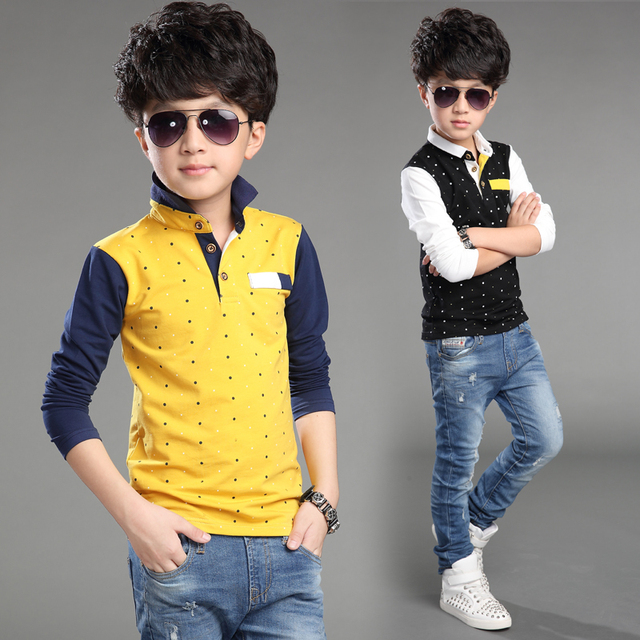 2016 Spring boy casual dot long sleeve t-shirt  13 Age kids clothes  kids spring turn down collar t-shirt   teenage boy clothes