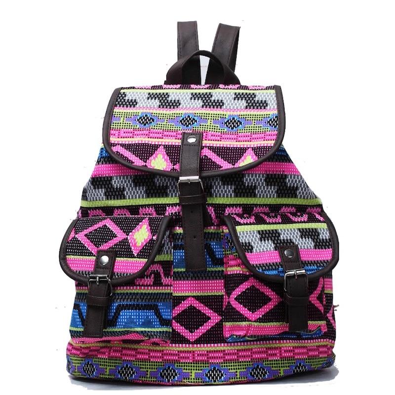 2017 Women Backpack School Bag Bohemian Vintage Drawstring Printing Canvas Bagpack Sac a Dos Femme Rucksack