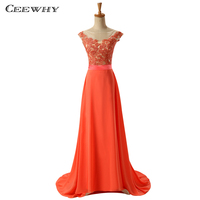 CEEWHY Cap Sleeves Long Evening Dresses 2018 Embroidery Beaded A Line Floor Length Evening Dress Mother of the Bride Dresses