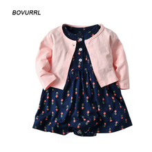 BOVURR 2pcs Set  Baby Girl Dress O-Neck babies Dresses for Girls Cotton Floral Dresses with Long Sleeve Cardigan Baby Clothing все цены