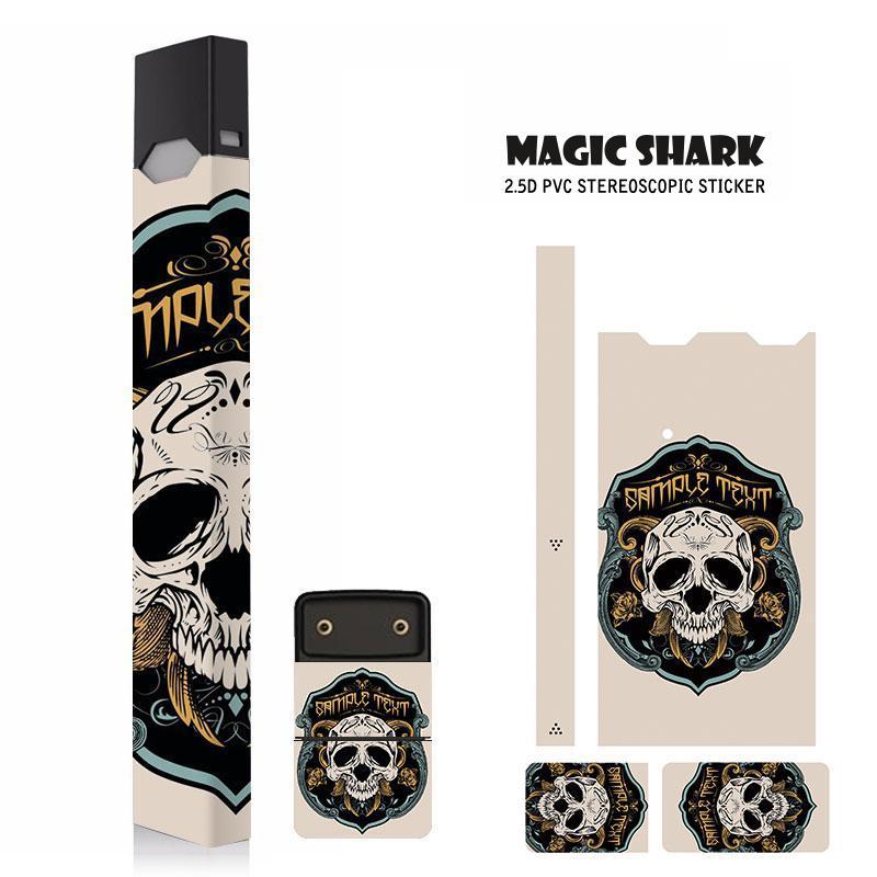 Magic Shark 2.5d Stereo Skull Case Cover Film Sticker Skin For Juul Electronic Cigarette Sticker Punk Style