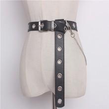 Новейший дизайн, Съемный поясной ремень с цепочкой, в стиле панк, хип-хоп, трендовые женские ремни, женская мода, Серебряная Пряжка, кожаный пояс, джинсы